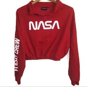 Chemistry Cropped Red Sweatshirt With NASA Logo